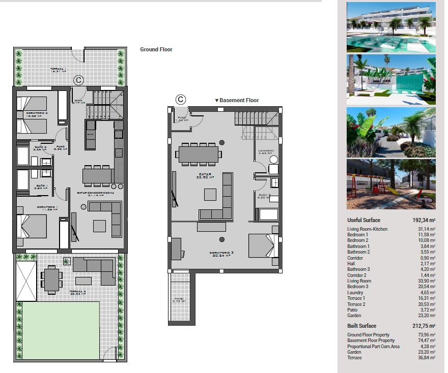 NC1645GM : Новый таунхаус с садом в Финестрате